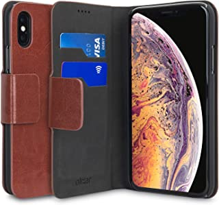 Olixar for iPhone Xs Wallet Case - PU Faux Leather/Leather Style Flip Cover - Credit Card Storage - Built in Kickstand - Wireless Charging Compatible - Brown