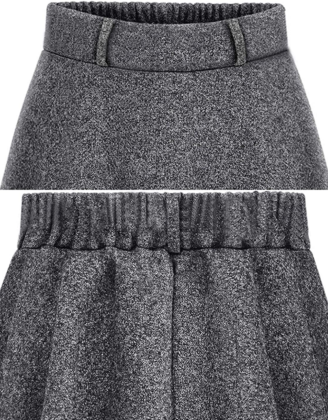 Gihuo Women's Casual Warm Wool Blend Flared Pleated Skater Skirt