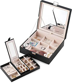 Frebeauty Jewelry Box with Portable Travel Jewelry Case 2 Layer Jewelry Display Organizer with Large Movable Mirror Versatile Storage Case for Jewelry Rings Watches Sunglasses (Black)
