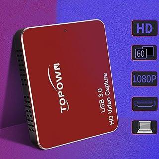 TOPOWN HDMIキャプチャーボード ゲームキャプチャー ビデオキャプチャー USB3.0 1080P 60FPS Switch/PS4/Xbox/Mac/PC/ウェブカメラ/携帯電話に対応 Windows/OS X/Linux兼用 キャプチャー Potplayer YouTube Twitc ゲーム録画 実況 配信 ライブ会議用