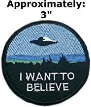 I Want to Believe Patches Text Words Logo Theme Space and UFO Fans X-Files TV Series U-Sky Embroidered Sew or Iron-on Patch Appliques by Athena Brands
