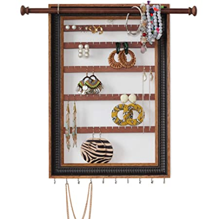 Mymazn Hanging Earring Organizer Wall Mounted Jewelry Organizer Frame Earring Wall Holder Rustic Jewelry Hanger for Women, Girls | Wooden Jewelry Display with Bracelet Necklace Holder Rod