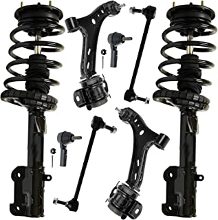 Detroit Axle - 8PC Front Strut & Coil Spring Assembly, Front Lower Control Arms w/Sway Bars and Outer Tie Rods for 2005-2009 Ford Mustang Base & GT Models (Excluding Shelby or Bullitt)