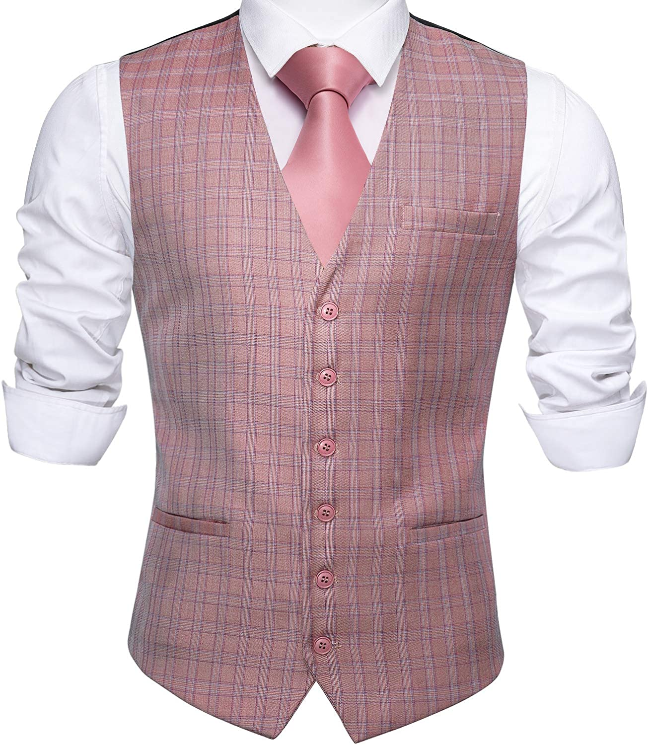 Barry.Wang Mens Plaid Waistcoat Wool Blend Tailored Collar/V-neck 3 Pocket Check Vest Formal/Leisure