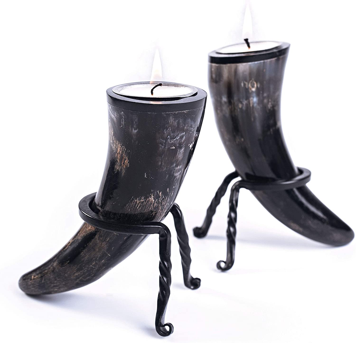 Genuine Ox-Horn Candle Sticks 2 with Light Wro Now on sale Candles and Tea Popular popular