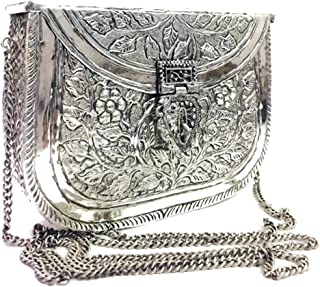 Trend Overseas Women's Indian Vintage Purse, Sling Bag, White Metal Brass Hand Ethnic Clutch Antique Silver