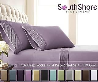 Southshore Fine Linens- 4 Piece - Extra Deep Pocket Pleated Sheet Set, Queen, Lavender