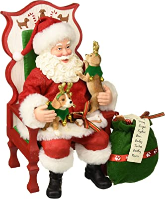 "Department 56 Santa and His Pets Sit Stay Pose Figurine, 11"", Multicolor"