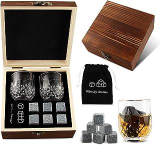 Whisky Steine, 6 Stück Whisky Steine aus Speckstein, Wiederverwendbarer Granit, Exquisites Geschenkpaket aus Holz, 2 Whiskygläser, Samtbeutel und Kühlstein, Geeignet Für Getränke und Wein klein