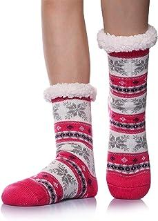 Womens Fuzzy Slipper Winter Socks Warm Thick Cozy Fluffy Fleece Lined Non-Slip Thermal Indoor Floor Home Sleeping Socks (R...
