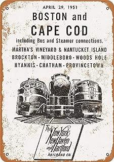 SUPVIVI 12 x 16 Metal Sign - New Haven Railroad Boston Cape Cod - Vintage Wall Decor Art