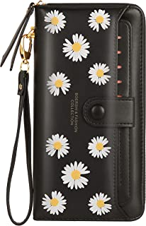 Nawoshow Women Leather Wallet RFID Blocking Zipper Pocket Wallet Card Case Purse with ID Window (Black(Flower))