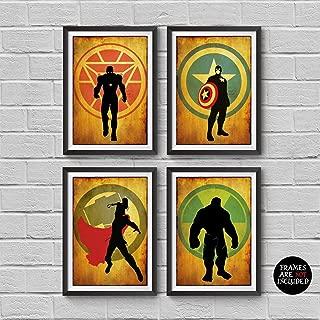 Avengers Poster Set 4 Vintage Poster Marvel Movie Print Minimalist Avengers Poster Artwork Wall Art Home Decor Wall Hanging Captain America Iron Man Thor Hulk