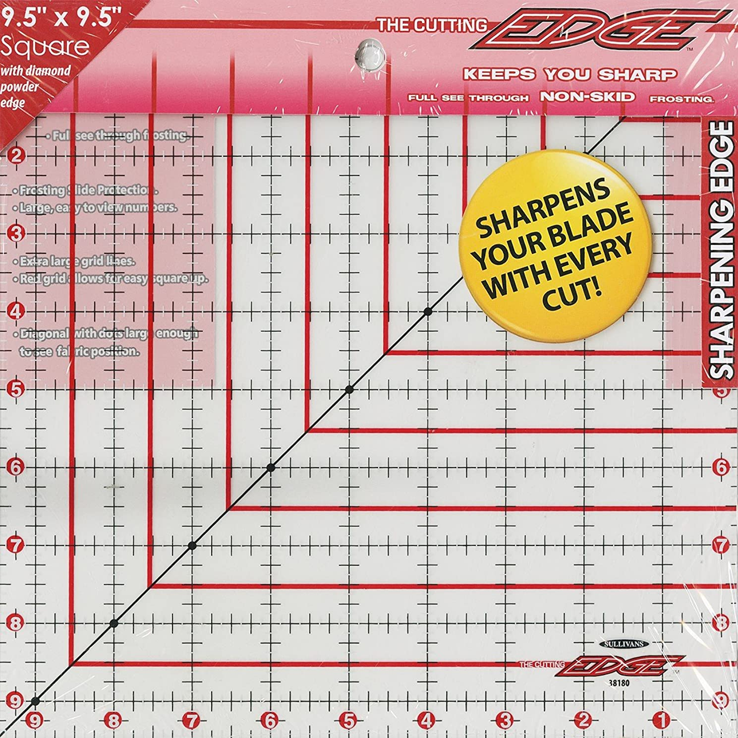Sullivan 9-1/2-Inch-by-9-1/2-Inch The Cutting EDGE Frosted Ruler