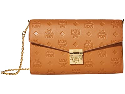 MCM Millie Monogrammed Leather Small Crossbody Medium (Cognac) Handbags
