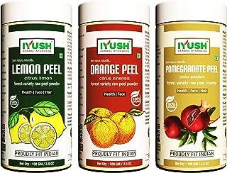 IYUSH Herbal Ayurveda Lemon Peel,Oranges Peel,Pomegranate Peel Powder - 100gm each