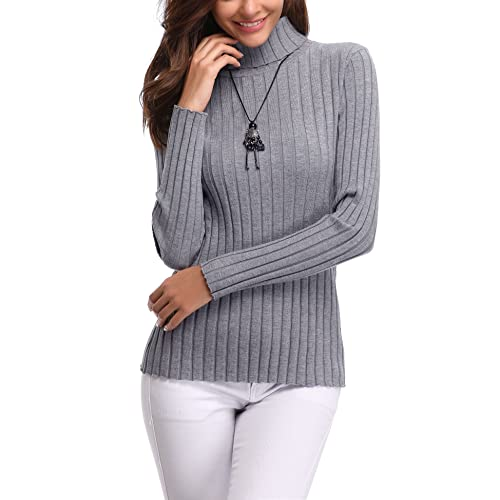 d7c04d65510 Abollria Women s Long Sleeve Solid Lightweight Soft Knit Mock Turtleneck  Sweater Tops Pullover