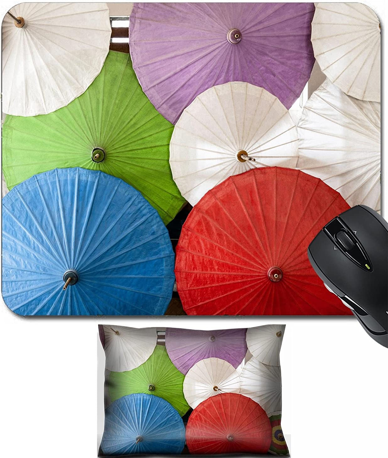 MSD Mouse Wrist Rest and Small Mousepad Set, 2pc Wrist Support design 20299292 Close up of colorful umbrellas Colorful umbrellas with wooden handle