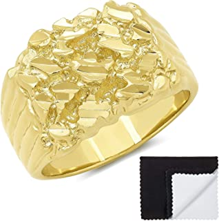 The Bling Factory Men's 14k Yellow Gold Plated Chunky Nugget Ring Size 7,8,9,10,11,12,13,14,15,16 + Jewelry Polishing Cloth