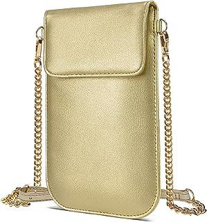 COCASES Handytasche zum Umhängen, Damen Kleine Handy Umhängetasche Cross-Body Schultertasche mit Kartenfächer(Gold)