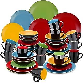vancasso, Série Allegro, Service de Table Complet en Céramique Matte, 48 Pièces pour 12 Personnes, Assiette Plate, Assiett...