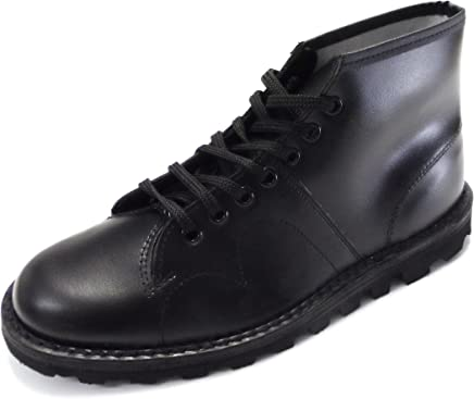retro mod unisex leather monkey boots in black and oxblood (8, black) : boots