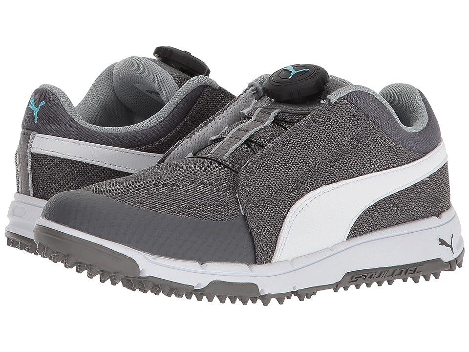 PUMA Golf Puma Grip Sport Jr. Disc (Little Kid/Big Kid) (Quiet Shade/Puma White/Bluefish) Golf Shoes