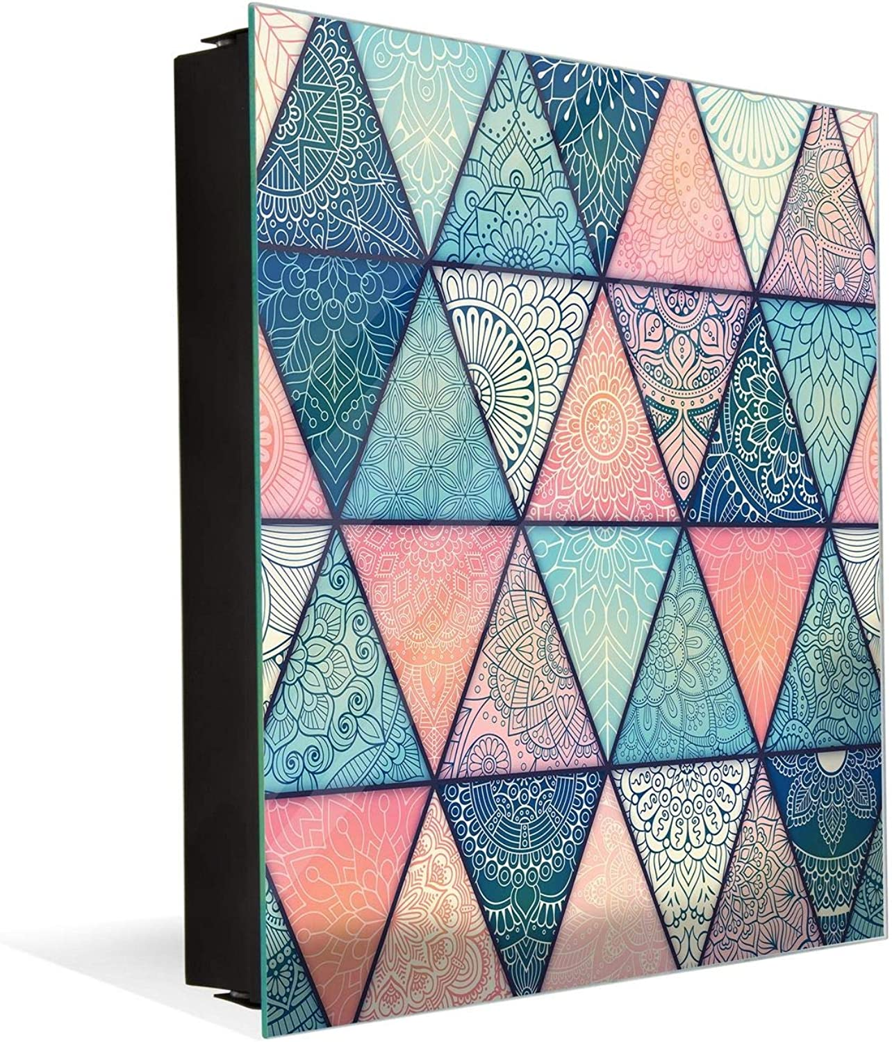Wall Mount Key Box Together with Decorative Dry Erase Board K12 Hand Drawn Mandala