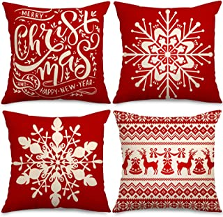 Whaline Kerst Kussensloop Rood Wit Kussensloop Sneeuwvlok Kussenslopen Gooi Kussensloop voor Thuiskantoor Slaapbank Kerst ...