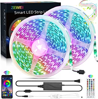 65.6ft LED Strip Lights, Ultra-Long RGB Color Changing 5050 LED Strips with 40-Key Remote Controller+Bluetooth APP Controller Sync to Music Apply for TV, Bedroom, Party and Home Decoration