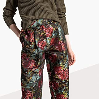 La Redoute Collections Womens Floral Jacquard Trousers, Length 30.5
