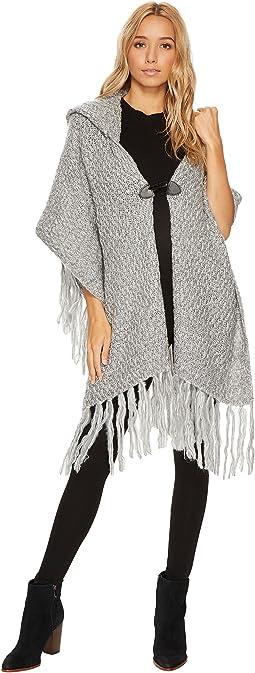 Steve Madden - Fuzzy Knit Poncho Style Hooded Ruana