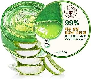 [the SAEM] Jeju Fresh Aloe Soothing Gel 10.1 fl.oz. (300ml) - 99% Aloe Vera, Hydrates & Heals Dry, Itchy & Damaged Skin & Hair/Acne, Sunburn, Rash & Dandruff Relief