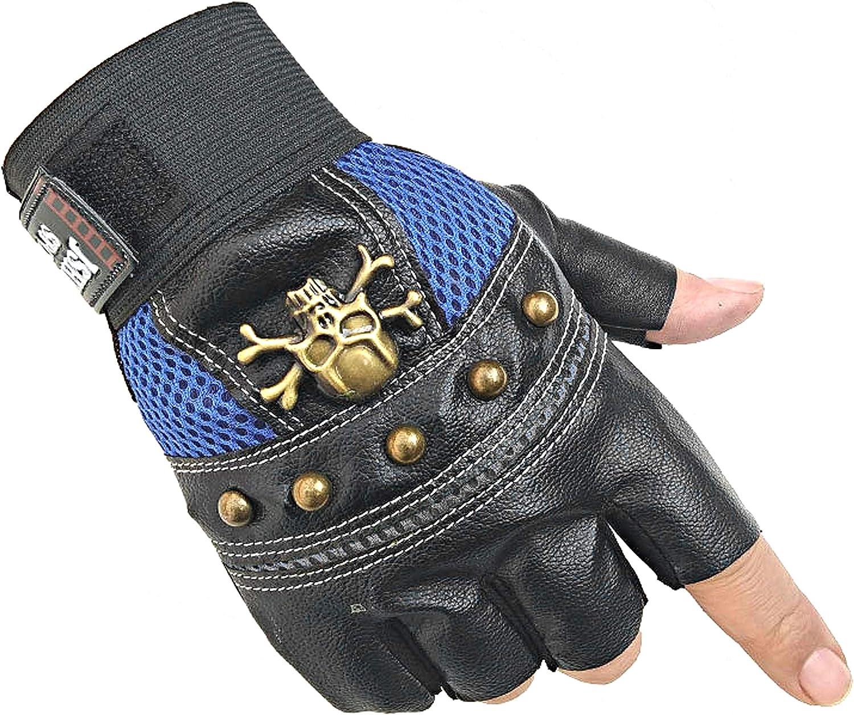 Men's Rock Biker Gothic Skull Sport Gloves Motorcycle Skeletal Rivet Cycling Driving Fingerless Mitten