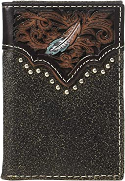 Pierced Feather Embossed Trifold Wallet