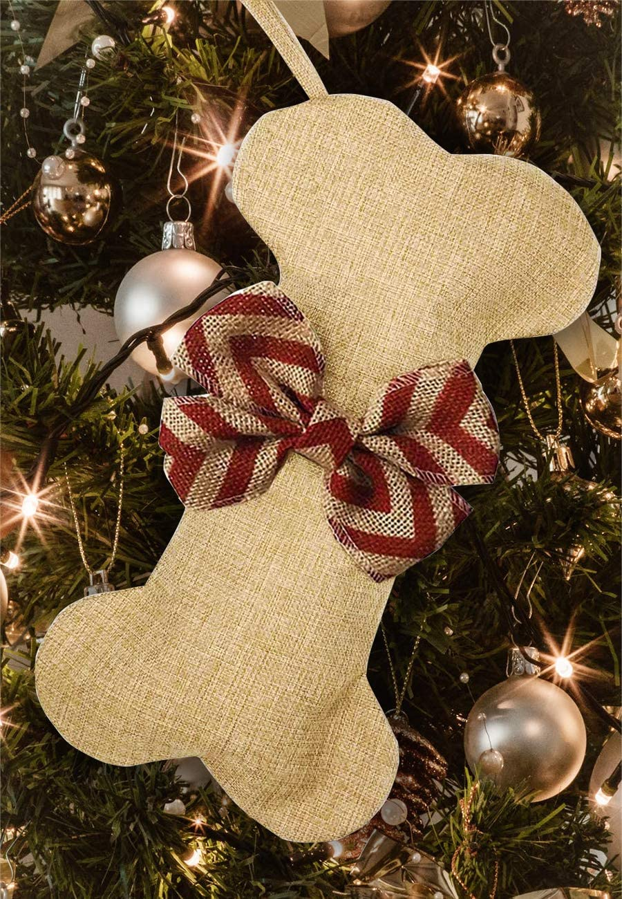 Khaki Snowflake Malier New Linen Large Christmas Stocking for Dogs Cats Pets Jute Natural Burlap Dog Bone Shape Hanging Dog Christmas Stocking