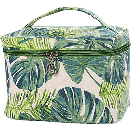 Tropical Leaves Cotton Canvas wallet and Toiletry Bag
