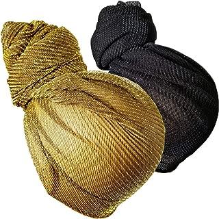 Stretch Head Wrap Scarf Turban - Long Black Head Scarf Wrap Turban Hair Scarf Tie Color Headband 1 or 2 Set