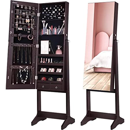 Nicetree Jewelry Cabinet With Full Length Mirror Standing Lockable Jewelry Armoire Organizer 3 Angel Adjustable Brown Home Kitchen
