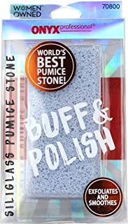 Onyx Professional Double Sided Pumice Stone 100% Siliglass Callus Remover, Exfoliates..