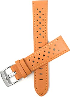 Bandini Mens Leather Watch Band Strap, Vented, Racer, GT Rally, Stainless Steel Buckle, 10 Colors - 18mm, 20mm, 22mm, 24mm (Many Sizes Also Come in Extra Long XL)