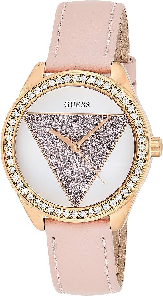 Guess ,orologio analogico quarzo per donna con cinturino in pelle e cassa in acciaio W0884L6