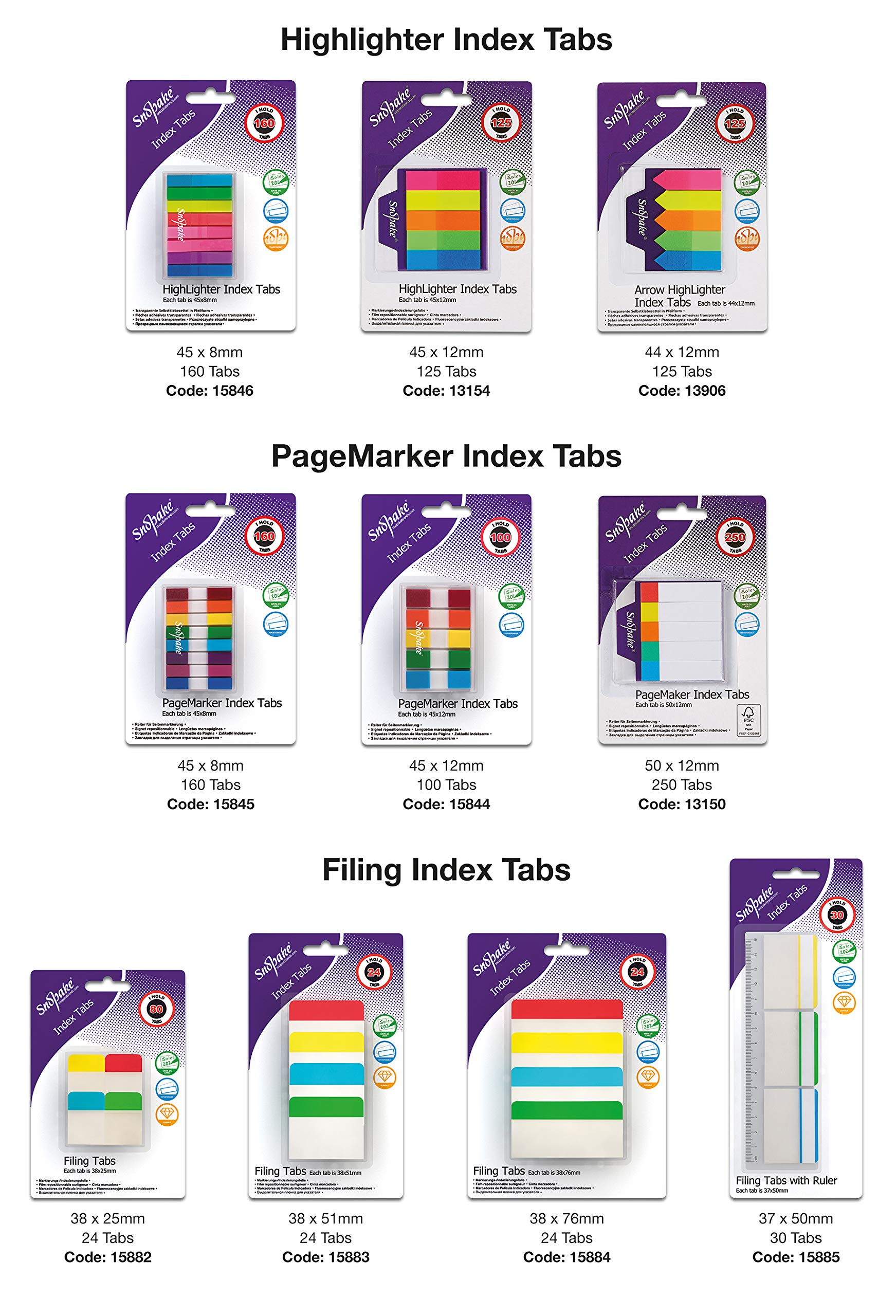 Snopake Index Tab PageMarkers with Colour Coded Tips 45 x 8 mm - 160 Tabs - Assorted [Ref: 15845]