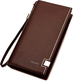 FUR JADEN Women's Leather Stylish Long Ladies Wallet with Zip Pocket, Multiple Card Holders and Phone Zip Pocket (Brown)