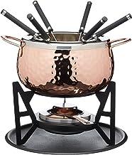 Artesà- Lujoso juego de fondue suizo para 6 personas de acero inoxidable, acabado de cobre golpeado.