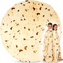 Zulay Burrito Throw Blanket Flour Tortilla Design(60inches) - Novelty Big Burrito Blanket for Adult and Kids - Premium Soft Flannel Round Burrito Blanket for Indoors, Outdoors, Travel, Home and More