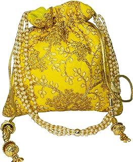 Brown Leaf® Beautiful Thread Work Ethnic Silk Handmade Designer Potli Bag for Girls & Women (Yellow)