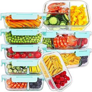 9 عبوات من أوعية إعداد الوجبات الزجاجية 3 و2 ومقصورة واحدة، حاويات تخزين الطعام الزجاجية مع أغطية وصناديق طعام زجاجية محكم...