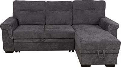 Homy Casa Inc Convertible Sofa Set Couch Bed Sleeper Chaise Lounge Furniture Sofabed, Grey