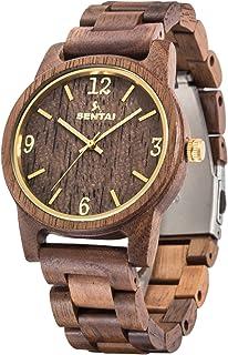 Men's Wooden Watch, Sentai Handmade Vintage Quartz Watches, Natural Wood Wrist Watch